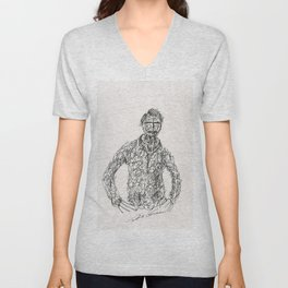 Tribute to Amadeo Modigliani by Tade Garben Unisex V-Neck