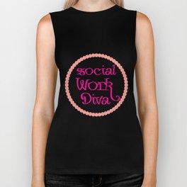 Social Work Diva Social Worker Funny Biker Tank