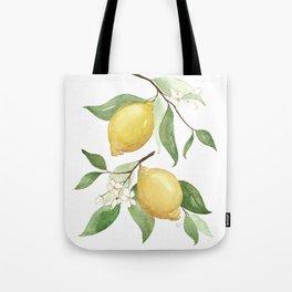 Watercolor Lemons - Yellow Lemons On Branch Tote Bag