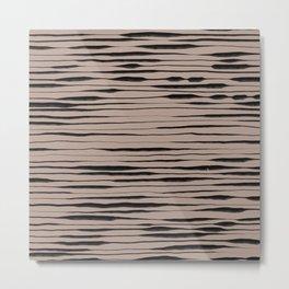 Hand Painted Lines / Dark Beige Metal Print