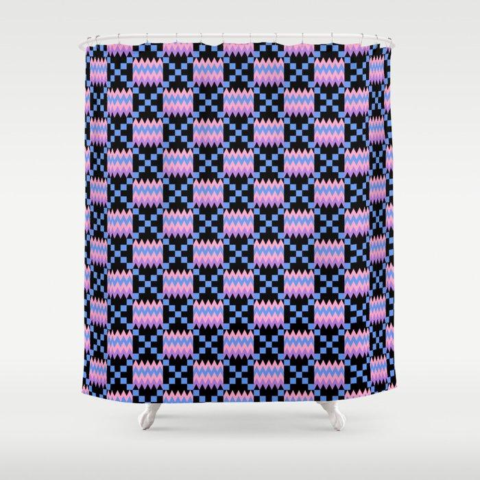 Cornflower Blue Carnation Pink Lavender Purple Kente Cloth On Black Shower Curtain
