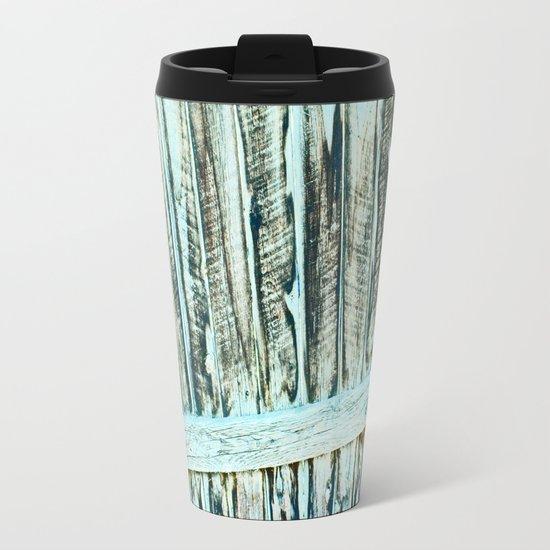 Abstract Wood Metal Travel Mug