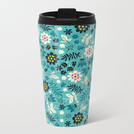 Fresh Blossoms (Greens) Metal Travel Mug