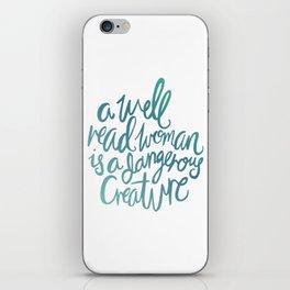 Well Read Woman BLUE iPhone Skin