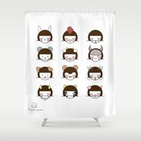 zodiac Shower Curtains featuring Zodiac  by Leeanne Illustrations
