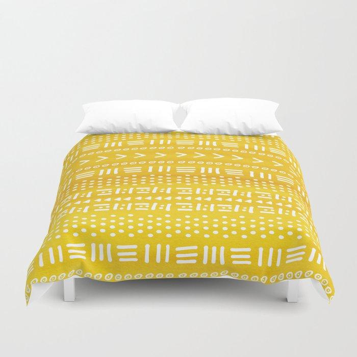 Yellow Boho Stripes Pattern Duvet Cover