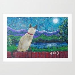Siamese Cat in the Moonlight Art Print