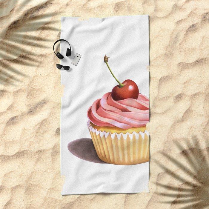 The Perfect Pink Cupcake Beach Towel