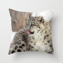 Concerned Mama Snow Leopard Throw Pillow