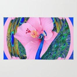 BLUE PINK HIBISCUS FLOWERS & BLUE-GREEN PEACOCK Rug