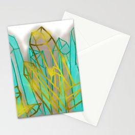 Crystals - Cyan Stationery Cards