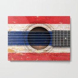 Old Vintage Acoustic Guitar with Thai Flag Metal Print