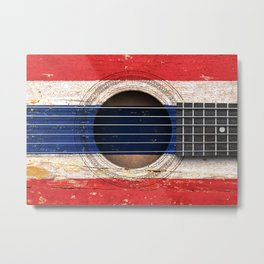Old Vintage Acoustic Guitar with Thai Flag Metal Print