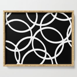 Interlocking White Circles Artistic Design Serving Tray