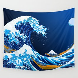 The Great Wave off Kanagawa (Bright & Colorful) Wall Tapestry