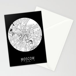 Moscow City Map of Russia - Full Moon Stationery Cards