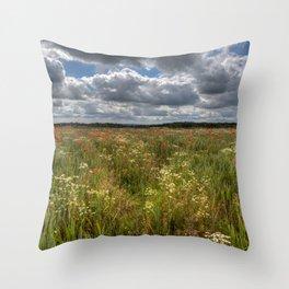Wheat Field Flowers Throw Pillow