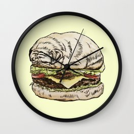Pug Burger Wall Clock