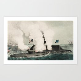Monitor vs. Merrimac - Ironclad Civil War Battle Art Print