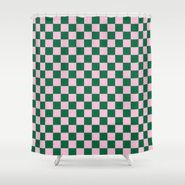 Cotton Candy Pink and Cadmium Green Checkerboard Shower Curtain