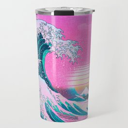 Vaporwave Aesthetic Great Wave Off Kanagawa Travel Mug