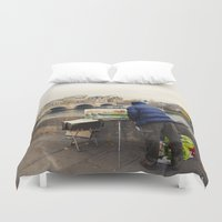 senna Duvet Covers featuring Paris Autumn Landscape by cinema4design