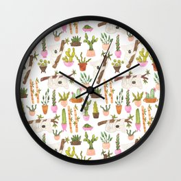 watercolor koala bears hanging out in their cactus succi garden Wall Clock