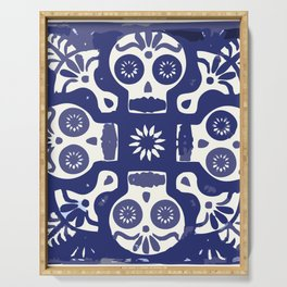 Talavera Mexican tile inspired bold Day of the Dead blue and white pattern Serving Tray