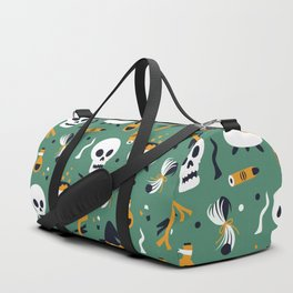 Happy halloween skulls, pots, brooms and witch hats pattern Duffle Bag