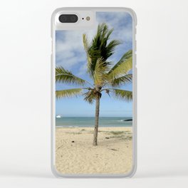 palm on the beach Clear iPhone Case