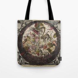 Keller's Harmonia Macrocosmica - Northern Celestial and Terrestrial Hemispheres 1708 Tote Bag