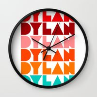 dylan Wall Clocks featuring Dylan by Jeremy Lin