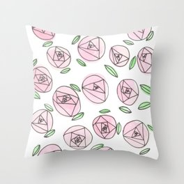 Simple Pink Roses Throw Pillow