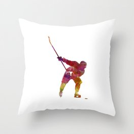 Hockey man player 02 in watercolor Throw Pillow