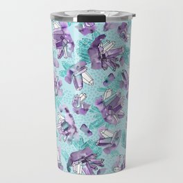 Amethyst Crystal Clusters / Violet and Aqua Travel Mug