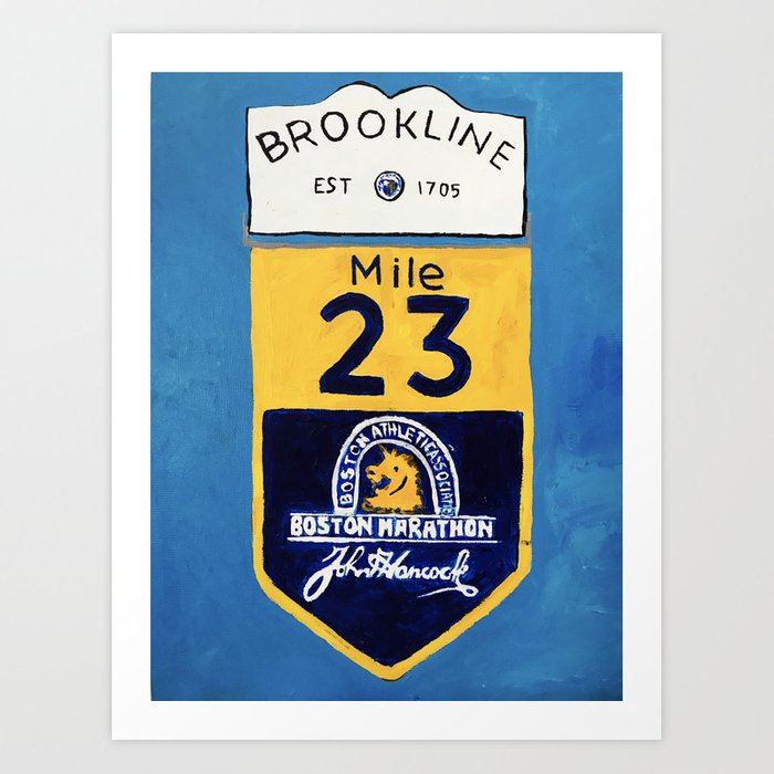 Boston Marathon, Brookline Mile Marker 23 Art Print