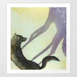 Wolf and His Shadow: Aesop's Fables Art Print