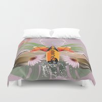 surfboard Duvet Covers featuring Surfing, sunglasses with surfboard  by nicky2342