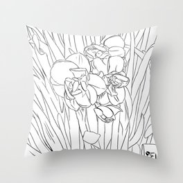daffodil lines Throw Pillow