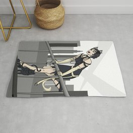 Catwoman on a Ledge  Rug