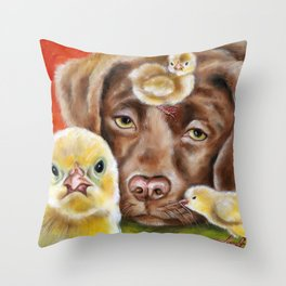 Chicksitting Afternoon Throw Pillow