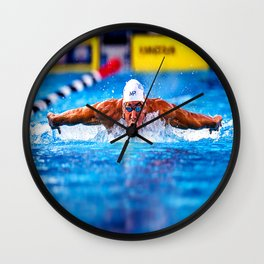 A Real Olympian Swimmer Wall Clock
