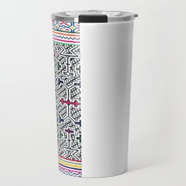 Song to Bring Blessings to a Marriage - Traditional Shipibo Art - Indigenous Ayahuasca Patterns Travel Mug