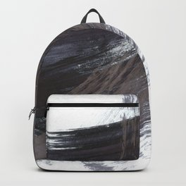 Gestural Brush Strokes Painting in Navy Blue and Grey Backpack