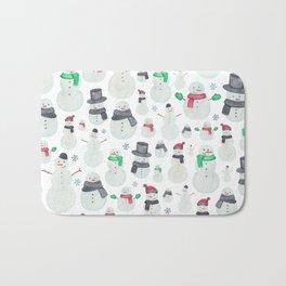 Watercolour snowmen! Bath Mat
