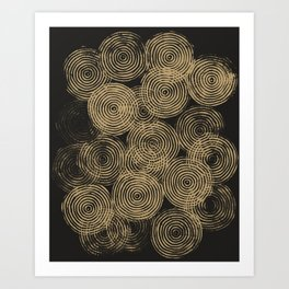 Radial Block Print in Charcoal and Gold Art Print