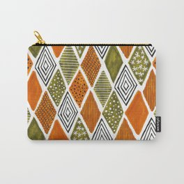 orange and green sketchy diamonds Carry-All Pouch