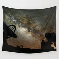radio Wall Tapestries featuring Radio Telescopes and Milky Way by Space99