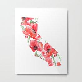 California State Watercolor Print Metal Print
