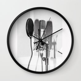 Microphone black and white Wall Clock